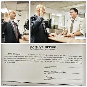 David Gevorkyan sworn in by Glendale City Clerk (from David Gevorgyan's Facebook)