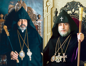 Arbp. Nourhan Manougian and H.H. Garegin II (courtesy armenianchurch.org and armenian-patriarchate.com)